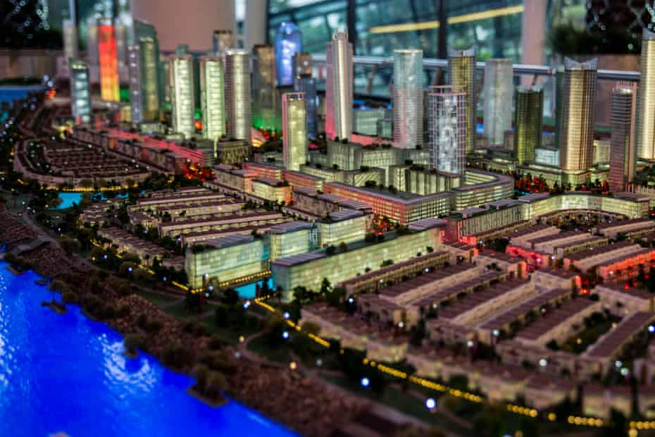 A scale model of a waterfront city planned for one of the 17 artificial islands, Island G.