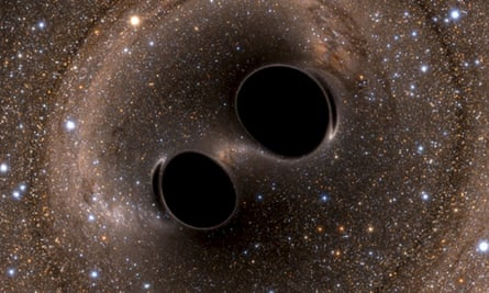 A computer simulation of the collision of two black holes recorded by Ligo
