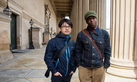 Koki Tanaka with Emeka Onuora, an original participant in the Youth Training Scheme protest in Liverpool.