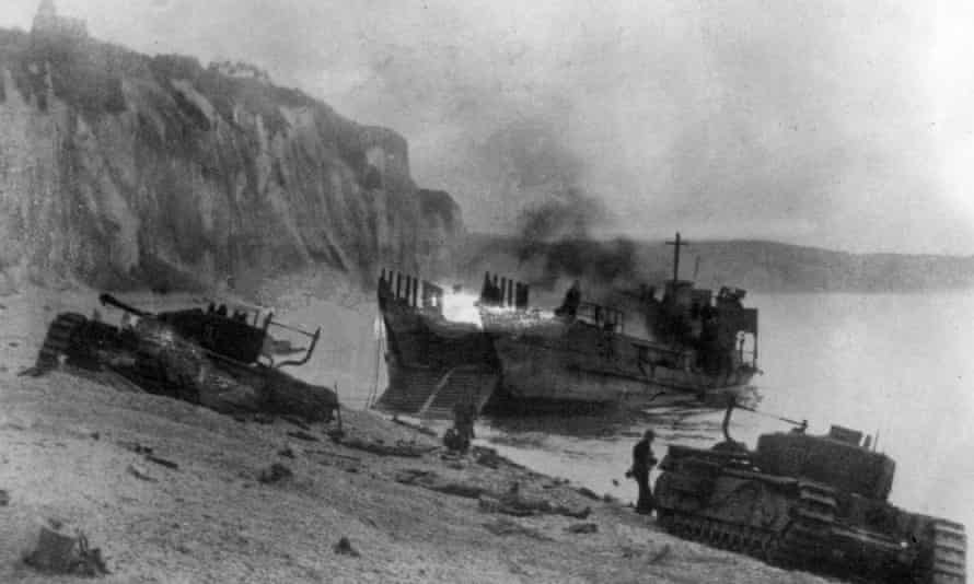 A landing vessel and two tanks captured by the Germans during the raid on Dieppe.