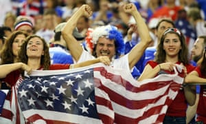 USA fans cheer on their team against Germany.