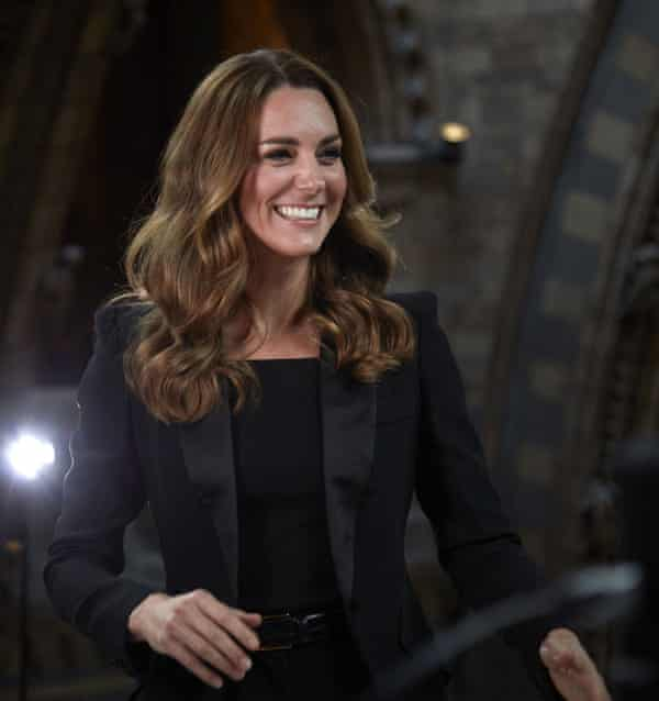 The Duchess of Cambridge in a sharp-shouldered black jacket