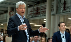 JP Morgan chief executive Jamie Dimon speaks at an event with George Osborne.