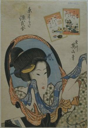 Woman at Mirror from Edo Beauties by Kikukawa Eizan.
