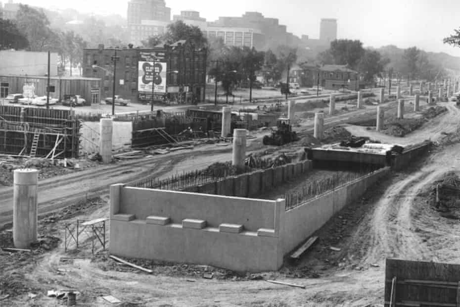 Construction of an elevated portion of I-81 known as the viaduct.