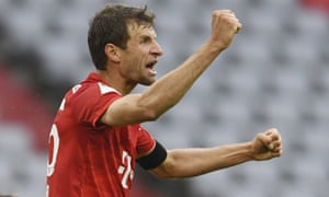 Bayern Munich's Thomas Muller celebrates after scoring his side's second goal.