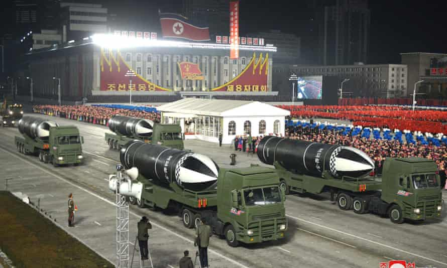 A celebration of the 8th Congress of the Workers' Party of Korea in January 2021. The UN report claimed the state displayed new missile systems at military parades.