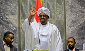 Omar al-Bashir speaks to representatives of the ruling National Congress party on 2 April.