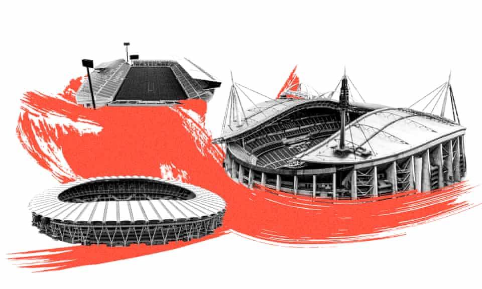 From top to bottom: Kumagaya Rugby Stadium, Toyota Stadium and Shizuoka Stadium ECOPA
