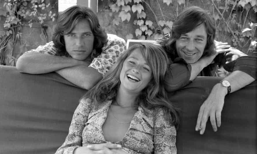 Charlotte Rampling with boyfriends Bryan Southcombe (on right, and later her husband) and Randall Laurence, 1971