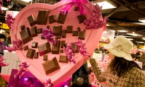 A Valentine's Day display in Tokyo. Growing resistance to giri choco has led to a decline in chocolate sales in recent years. Photograph: jeremy sutton-hibbert/Alamy Stock Photo/Alamy
