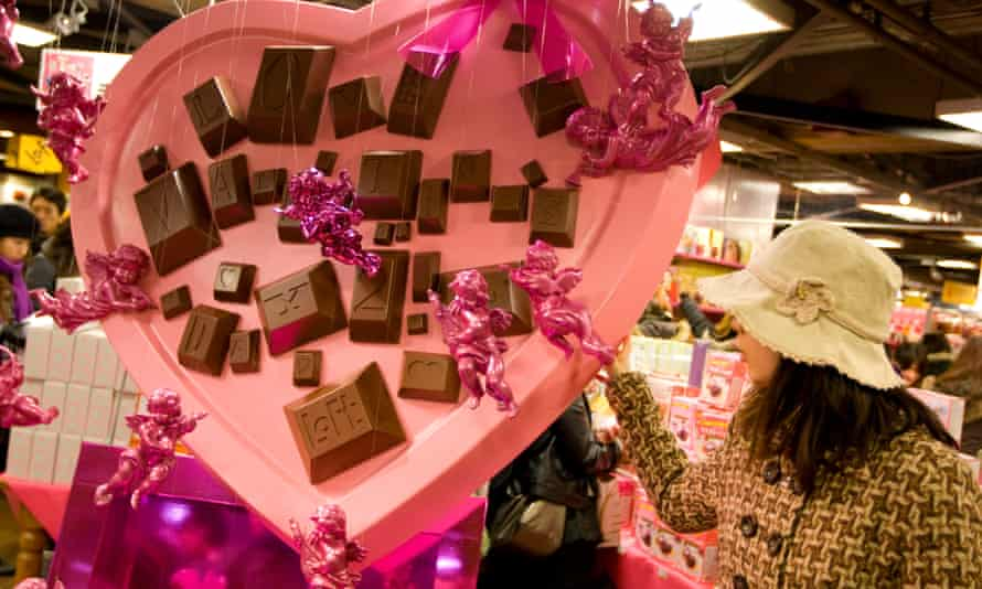 A Valentine's Day display in Tokyo, Japan
