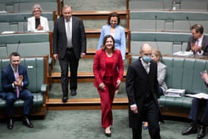 The new Labor member for Eden-Monaro, Kristy McBain, is escorted into the chamber to be sworn in.