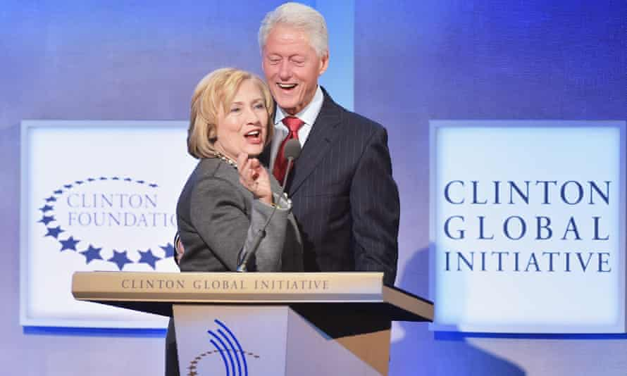 Hillary Clinton and Bill Clinton address the audience during the opening of the Clinton Global Initiative on 22 September 2014 in New York City.