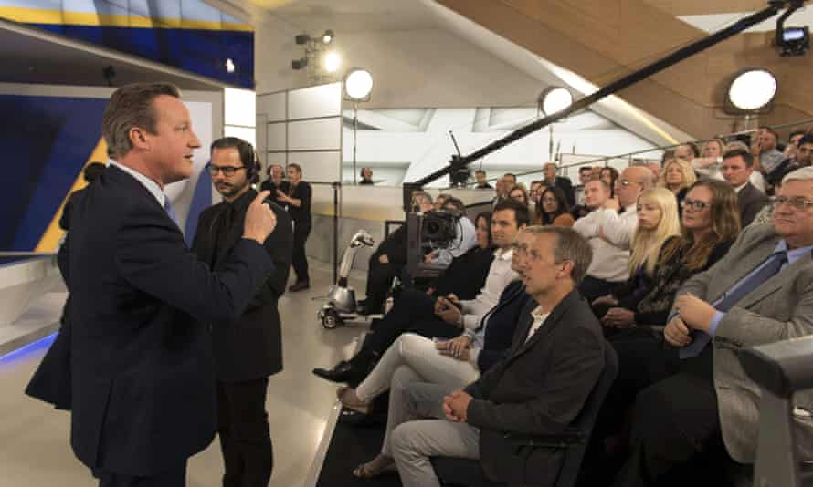 David Cameron speaks after attending the Sky News interview, which was followed by an audience Q and A session.