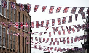 Flags erected to celebrate Queen's 90th birthday, Upton-upon-Severn, Worcestershire, Britain