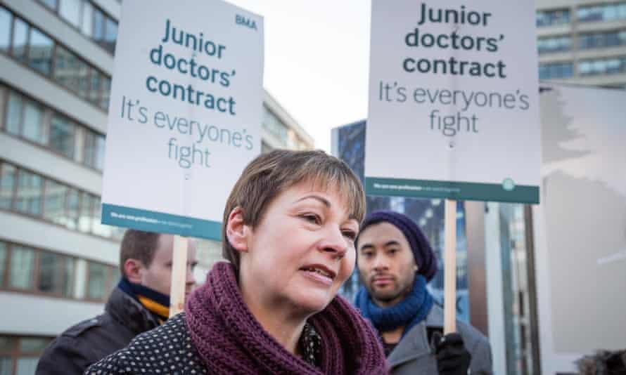 Caroline Lucas MP attends junior doctors strike in London