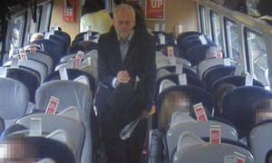 Jeremy Corbyn in a CCTV image released by Virgin.