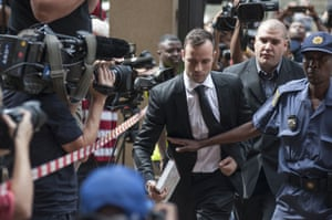 Oscar Pistorius arrives at the North Gauteng high court in Pretoria, South Africa