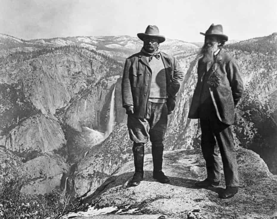 Theodore Roosevelt and John Muir above Yosemite Valley. Muir complained about the 'uncleanliness' of Native Americans.
