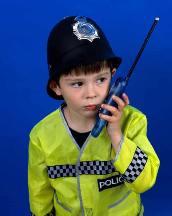 Boy in police uniform