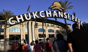 Fans arrive at Chukchansi Park in Fresno for a minor-league baseball game in 2015.