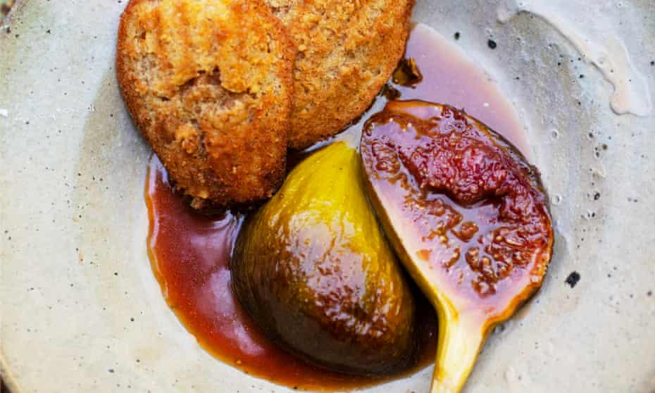 Red alert: walnut madeleines, figs and honey.