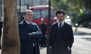 Another still from Guerrilla, with Rory Kinnear, left, and Daniel Mays as police targeting British Black Power.