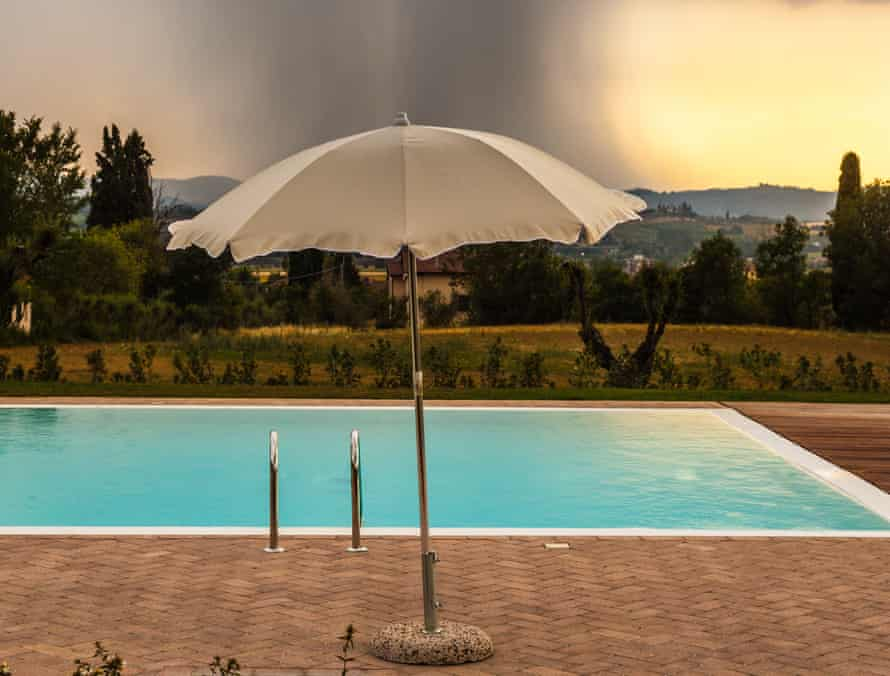 'When we arrived, it was beautiful … then a rainstorm struck' … a typical holiday scene.