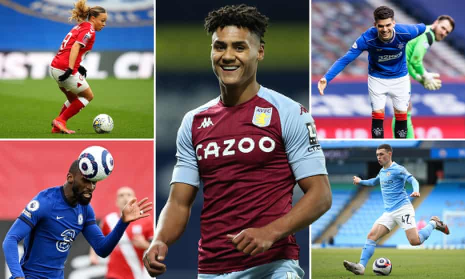 (Clockwise from top left) Bristol City's Ebony Salmon, Aston Villa and England's Ollie Watkins, Rangers' Ianis Hagi, Manchester City's Phil Foden and Chelsea defender Antonio Rüdiger.