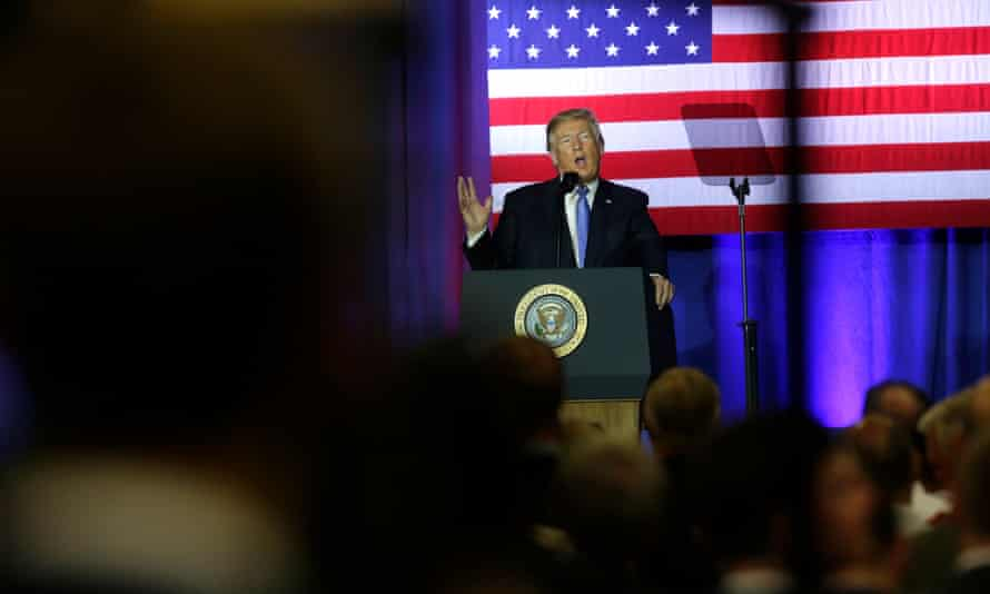 Donald Trump in Indianapolis. The refugee decision has been criticized as 'an affront to the United States' legacy as a protector of oppressed people'.
