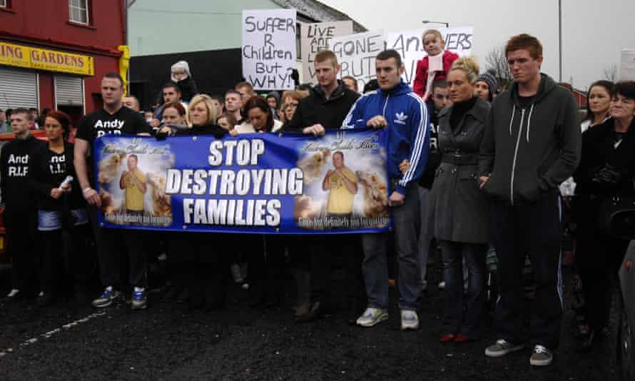 Protesters in Derry demonstrate over the murder of Andrew Allen.