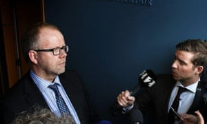 Thorbjorn Thordarson at a press conference for at Iceland's supreme court