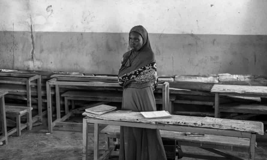 A girl in a school near a Cameroonian refugee camp.