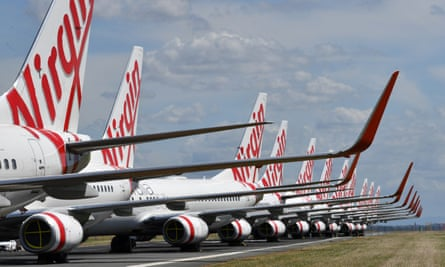 a row of grounded planes