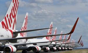 Virgin Australia aircraft parked at Brisbane airport