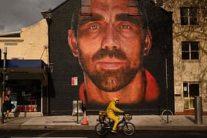 A giant mural of former Swans player and high-profile Indigenous sportsman Adam Goodes in inner Sydney.