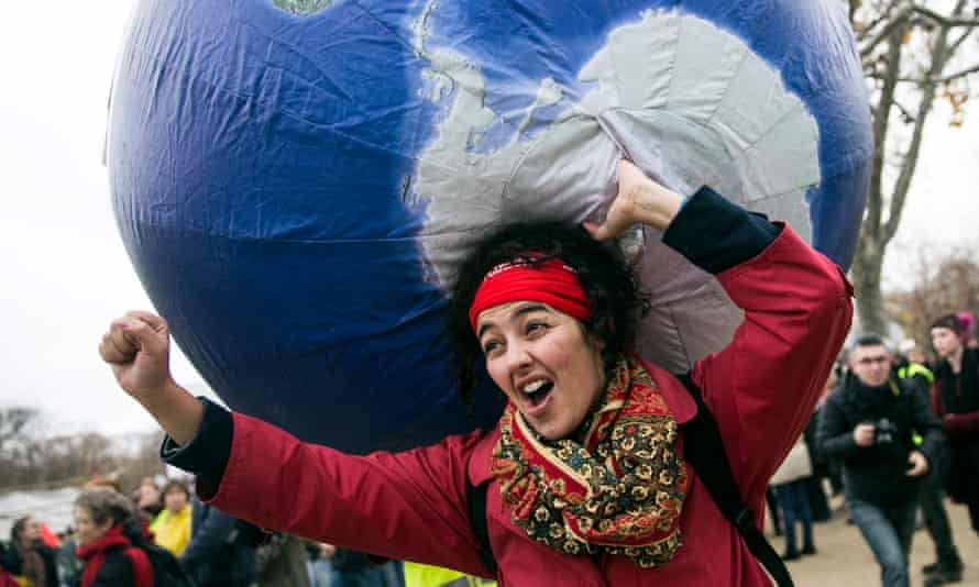 A climate demonstrator in Paris on Saturday.