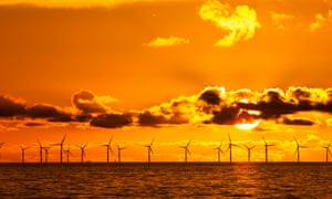 Sunset over the Walney offshore windfarm