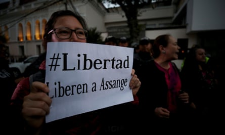 Ecuadorians demonstrate against the expulsion of Wikileaks founder of Julian Assange outside the foreign ministry in Quito, Ecuador.