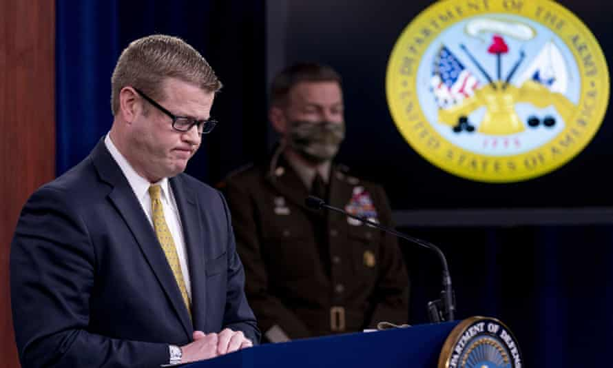 Ryan McCarthy pauses while speaking about an investigation into Fort Hood, Texas at the Pentagon, Tuesday in Washington DC.