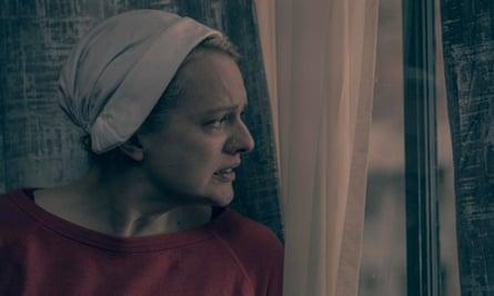 Elisabeth Moss in a still from season 2 of The Handmaid's Tale.