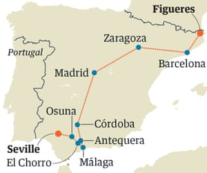Map Of Spain With Barcelona.Spain By Train From Barcelona To Seville Via Madrid Travel The