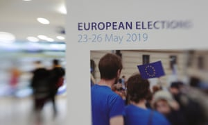 A blurred sign for European parliament elections