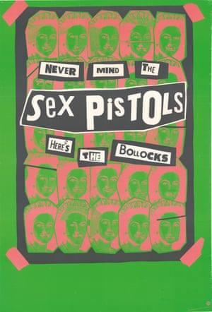 An American poster for the Sex Pistols' only studio album, which inverts its title Never Mind the Bollocks Here's the Sex Pistols.