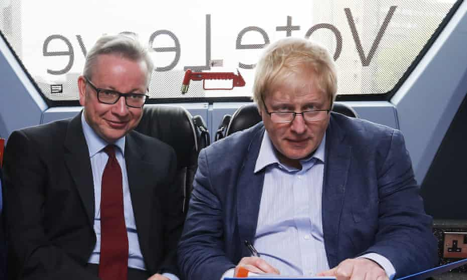 Boris Johnson and Michael Gove on the Vote Leave Battlebus during the Brexit campaign in June 2016.