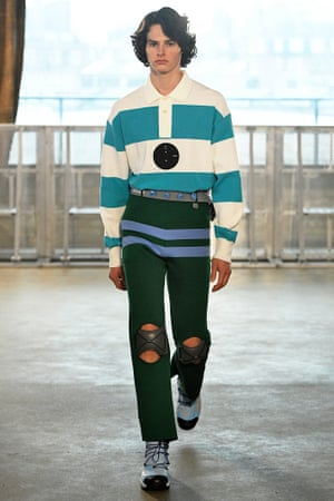 A model in a rugby shirt by Xander Zhou at London Fashion Week.