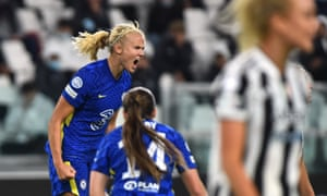 Chelsea's Pernille Harder celebrates after putting the visitors ahead.