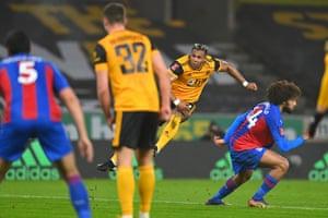 Adama Traore of Wolverhampton Wanderers scores a goal to make it 1-0.