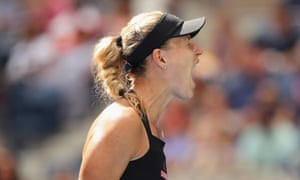 Angelique Kerber celebrates a point during her victory over Johanna Larsson.